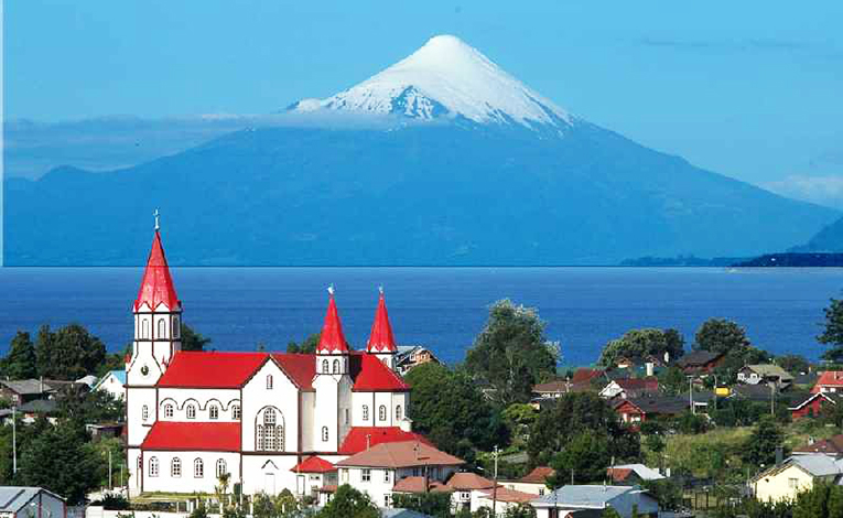 View of a volcano in Puerto Varas, Chile