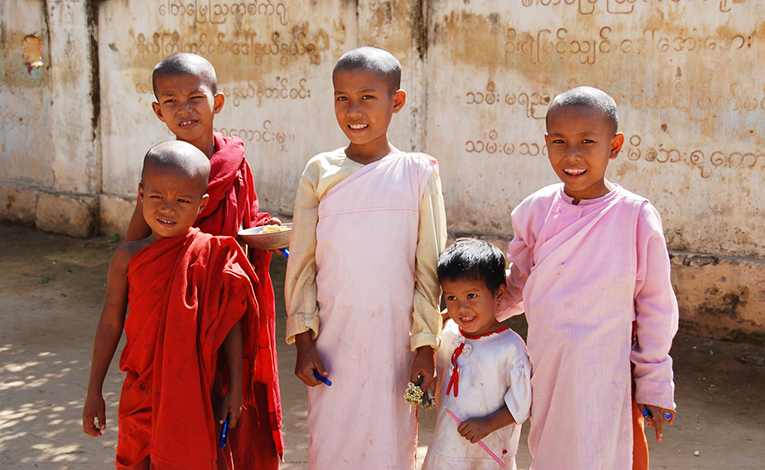 Young students in Burma