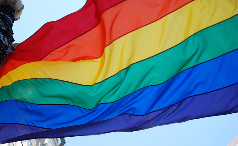 Rainbow flag blowing in the wind