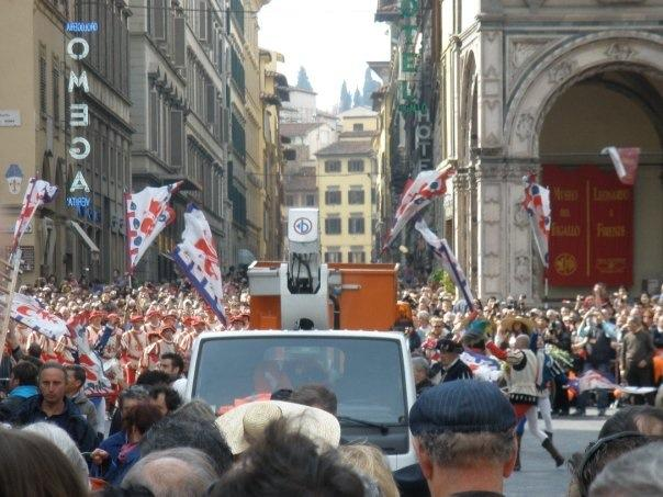 Easter in Florence, Italy with the Pope and crowd