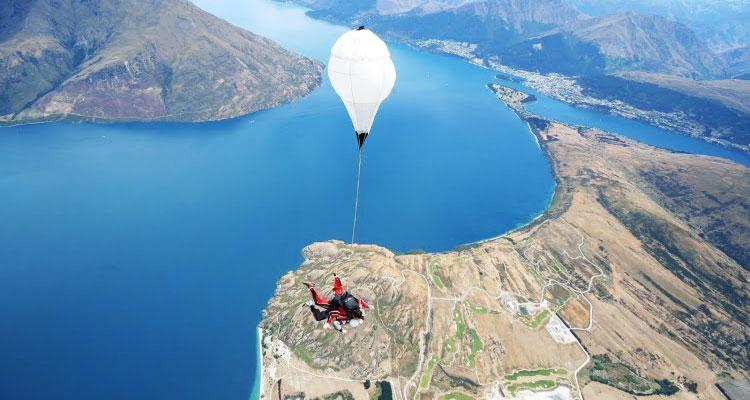 Tourist skydiving in New Zealand