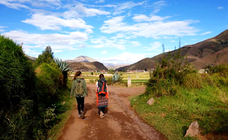 Girls hiking in Cusco, Peru