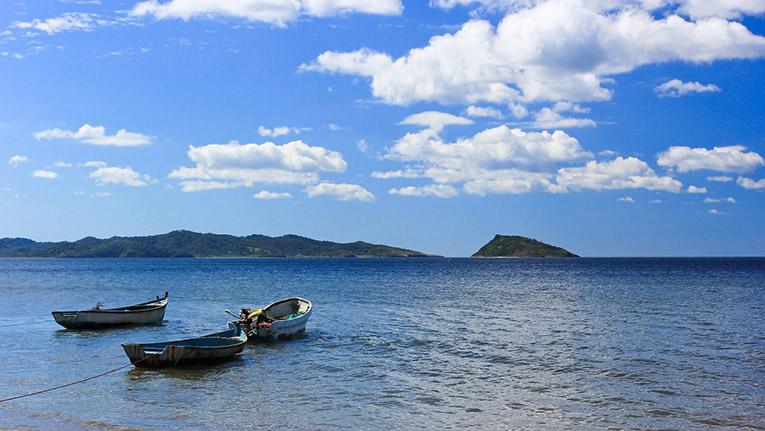 Boats docked in a beach in Costa Rica