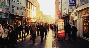 The streets of Galway in Ireland are packed with people even on weekends