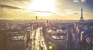 Sunset view of Paris, France