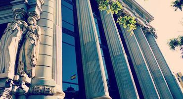 Facade view of a classic European building.