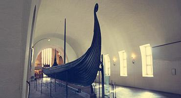 A Viking ship in a Museum in Oslo, Norway