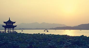 Sunset on a beach in Hangzhou, China
