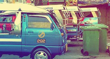 Public transportation vehicles in Surat Thani, Thailand