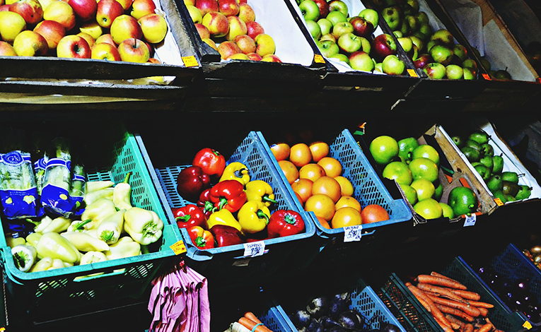Colorful fruits and vegetables on display at a market