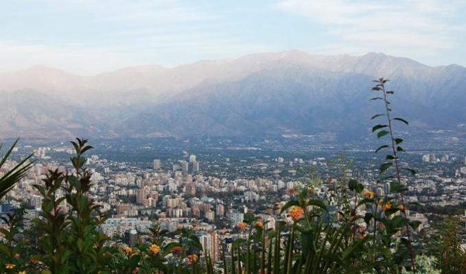 The Chilean capital, Santiago, surrounded by mountains