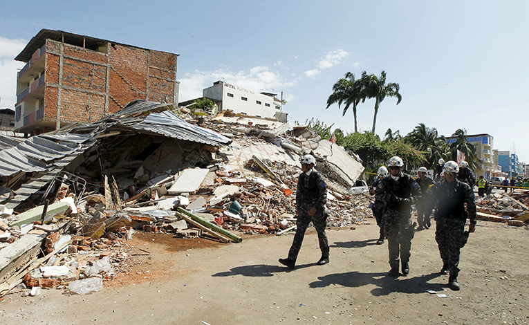 Debris on the streets after an earthquake struck off Ecuador's Pacific coast, in Manta April 17, 2016.