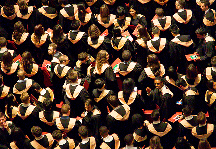 crowded graduation ceremony from above