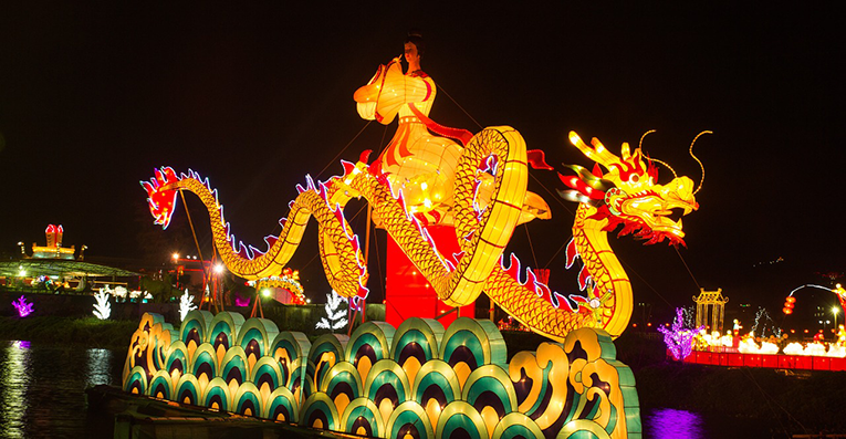 Illuminated Chinese dragon lantern