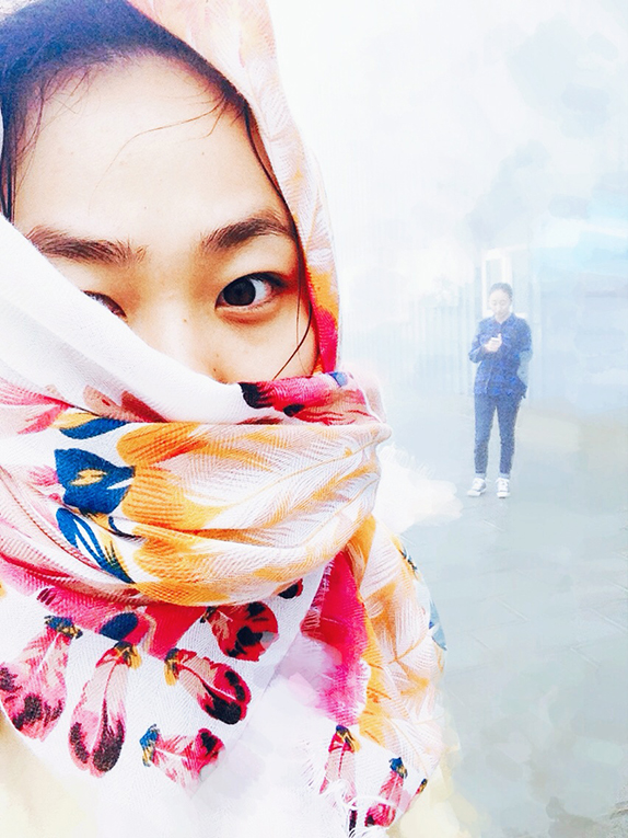 Girl wearing a scarf