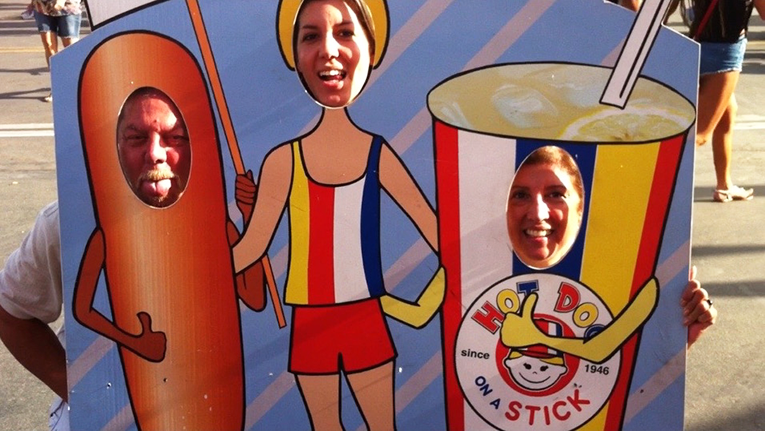 The Kraska family being silly at the fair.