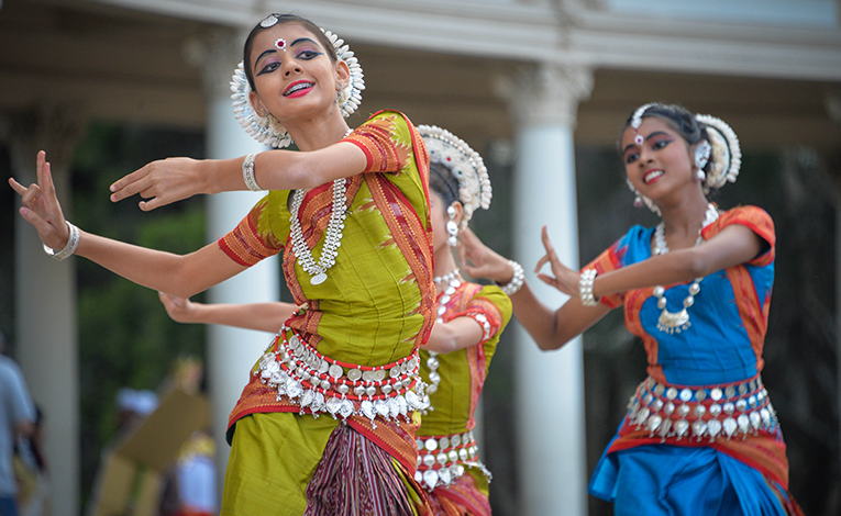 Girls dancing in traditional dress