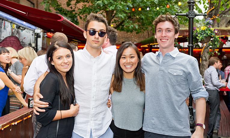 International interns at a social event