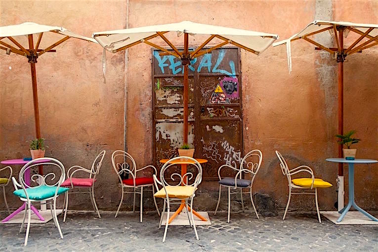 An outdoor café in Trastevere, Rome, Italy