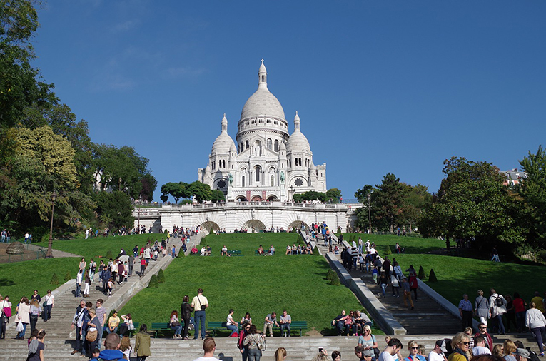 The Basilica of the Sacred Heart of Paris located at the summit of the butte Montmartre.