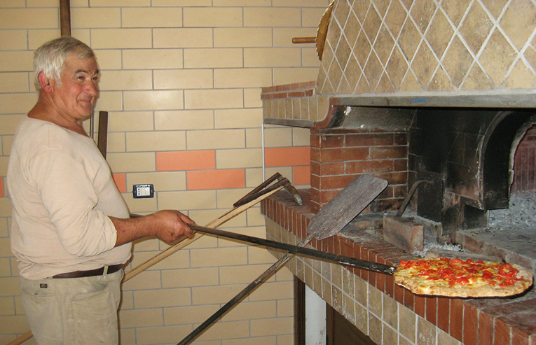 A chef cooking a pizza