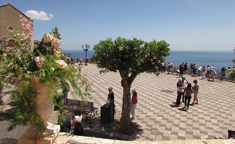 The main piazza in Taormina, Sicily, Italy