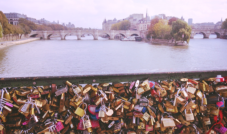 Love locks in the city of Paris, France
