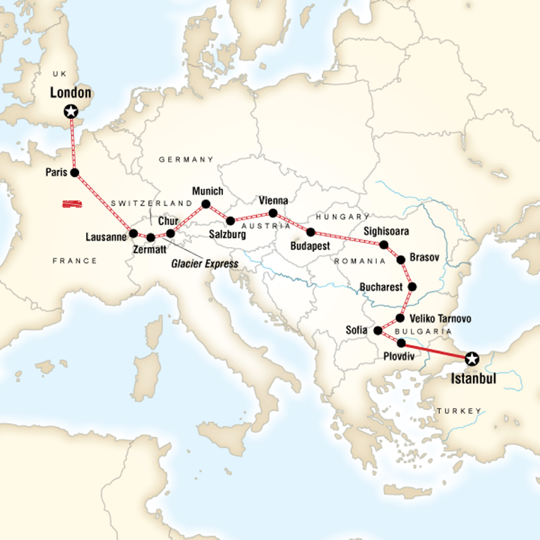 Map of a route from London to Istanbul