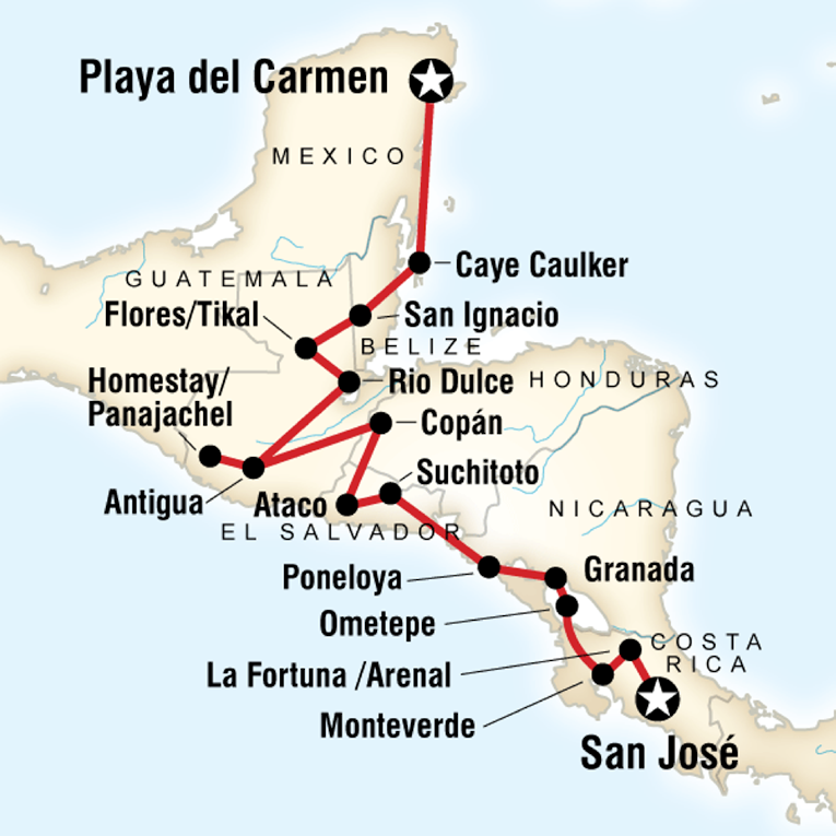 Map of a route from San Jose to Playa del Carmen