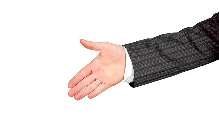 Man offering handshake.