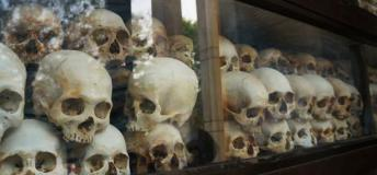 Skulls from the killing fields in Cambodia