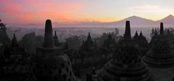 Dawn atop the Borobudur Temple