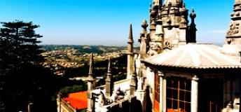 A view from the Quinta da Regaleira Palace in Sintra, Lisbon, Portugal.