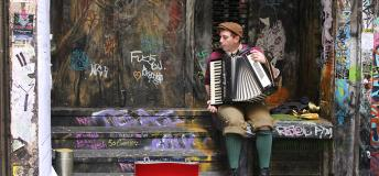 Street musician playing accordion