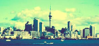 A skyline view of Auckland while at sea