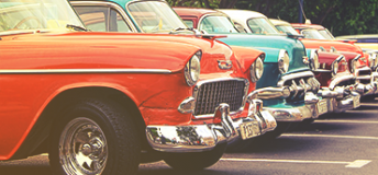 Vintage cars displayed in Cuba.