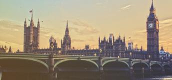 London UK, Big Ben Elizabeth Tower Thames River Bridge View.