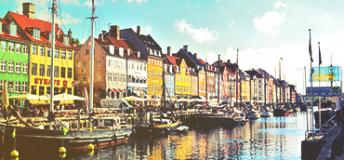 Nyhavn District in Copenhagen, Denmark.