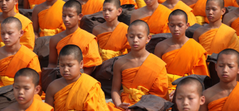Thai Buddhist Monks meditating