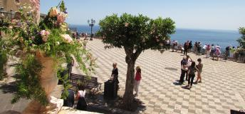 The main piazza in Taormina, Sicily, Italy