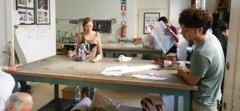 Art students in a studio in Italy