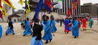 The Royal Guard-Changing Ceremony at Gyeongbokgung Palace - the guards posing for photos after the ceremony