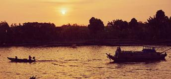 sunset view of Mekong River in Vietnam
