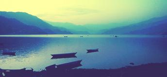 Sunset view of a beach in Pokhara, Nepal