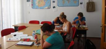 Students taking their TEFL certification exams.