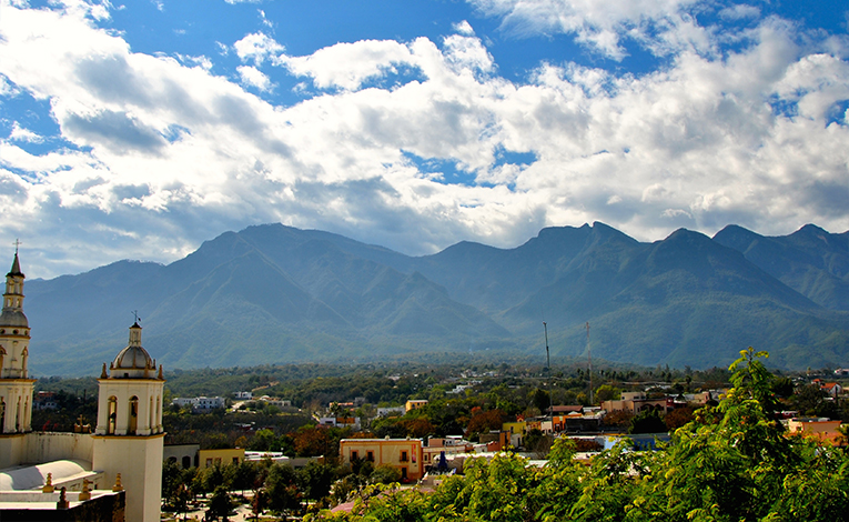 Santiago, Mexico under the Sierra Madre mountains
