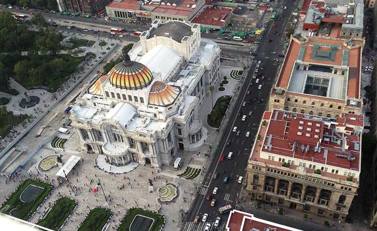 View of D.F. Palace in México City from above