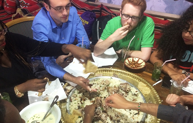 Eating at Bedouin restaurant in Jordan