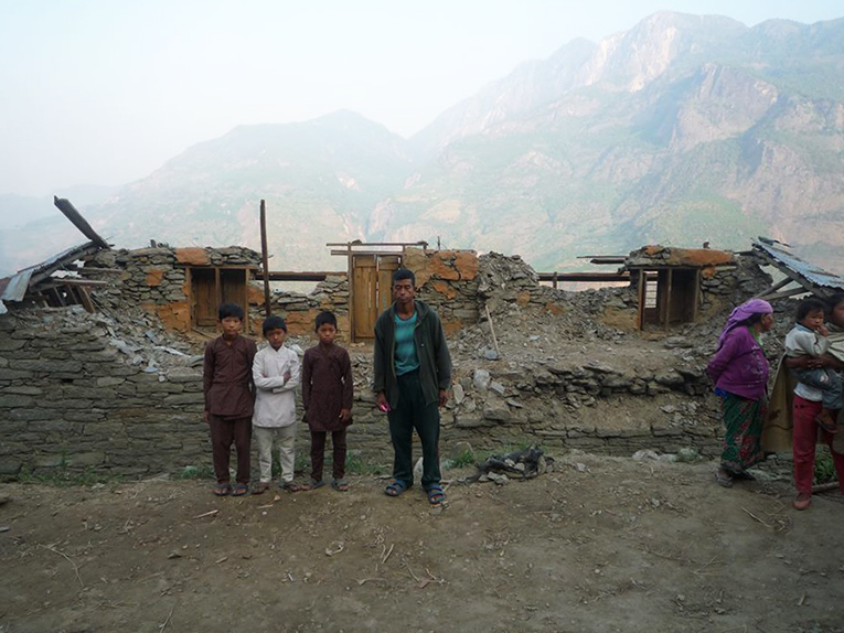 Earthquake survivors in Manbu village of Gorkha, Nepal